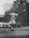 Dodger Don Newcombe Ready to Throw Ball During Game with Braves Premium Photographic Print