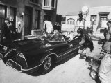 &quot;Batman&quot; Adam West and &quot;Robin&quot; Burt Ward During Shooting of Scene Premium Photographic Print by Yale Joel