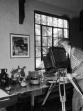 Artist Charles Sheeler Photographing a Still Life Scene to Be Painted Later Premium Photographic Print by Alfred Eisenstaedt