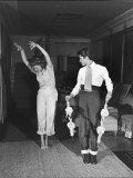 Actress Rita Hayworth, Taking Bullfighting Lessons from Fernando Lopez Premium Photographic Print by Peter Stackpole
