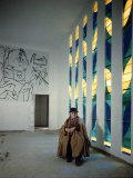 Artist Henri Matisse in Chapel He Created. the Tiles on Wall Depict Stations of the Cross Premium Photographic Print by Dmitri Kessel