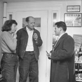 Painter Jackson Pollock and Lee Krasner Talking with Guest Premium Photographic Print by Martha Holmes
