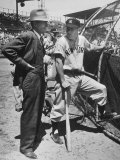 New York Yankee Outfielder Mickey Mangle Talking with Tom Greenwade Premium Photographic Print