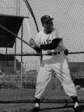 Baseball Player Willie Mays Batting During Pre-Game Practice Premium Photographic Print by Loomis Dean