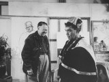 Actor Cantinflas Visiting Diego Rivera in His Studio Premium Photographic Print by Allan Grant