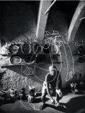 "Artist Pablo Picasso ""Painting"" with Light at the Madoura Pottery Premium-Fotodruck von Gjon Mili"
