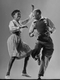 Leon James and Willa Mae Ricker Demonstrating a Step of the Lindy Hop Metal Print by Gjon Mili