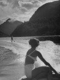 William Holden Water Skiing While His Wife Brenda Watches Him Premium Photographic Print by Allan Grant
