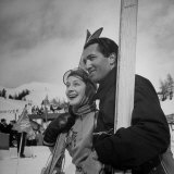 Actress Norma Shearer Holding Skis and Standing Next to Husband Premium Photographic Print