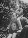 Actor Robert Walker with His Two Sons Outside Premium Photographic Print