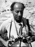 Life Photographer Alfred Eisenstadt Waring Cameras around Neck Premium Photographic Print by Alfred Eisenstaedt