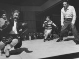 Actor Billy Barty Participating in a Charity Boxing Bout Reproduction photographique sur papier de qualité par Allan Grant