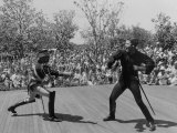 Actor Guy Williams Playing Zorro at Disneyland Premium Photographic Print by Allan Grant