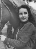 13-Yr-Old Actress Elizabeth Taylor with Her Favorite Pet, a Horse Named Peanuts Premium Photographic Print by Peter Stackpole