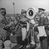Jockey Johnny Longden Being Weighed In Premium Photographic Print by Martha Holmes