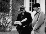 Mathematicians Albert Einstein and Kurt Godel Taking a Walk, Photographic Print