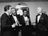 Television News Broadcasters Peter Jennings, Tom Brokaw, Bernard Shaw and Walter Cronkite Premium Photographic Print