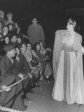 Actress Hedda Hopper Talking to the Crowd at the 1945 Motion Picture Academy Award Premium Photographic Print by Martha Holmes