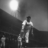 Baseball Player Van Lingle Mungo, Pitching During the Game at Ebbets Field Premium Photographic Print