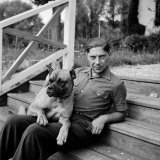 Author, Philosopher and Political Activist Arthur Koestler with His Dog Premium Photographic Print by Dmitri Kessel