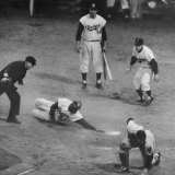 Action During a Game Between the Brooklyn Dodgers and the Milwaukee Braves at Ebbet&#39;s Field Premium Photographic Print by Ralph Morse