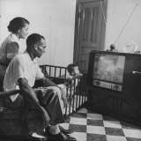 Braves Player Bill Bruton and Family Watching TV Set Which Was One of Presents in their Apartment Premium Photographic Print