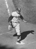 Gil Hodges Wearing Baseball Cap Running to Base During World Series Game Premium Photographic Print