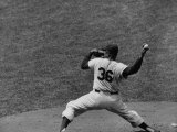 Brooklyn Dodger&#39;s Baseball Player Don Newcombe Pitching During the Braves Vs Dodgers Game Premium Photographic Print