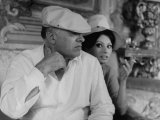 Italian Movie Dir. Carlo Ponti and His Actress Wife Sophia Loren Outside Villa Premium Photographic Print by Alfred Eisenstaedt