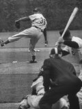 Dodger Don Newcombe Leaning with His Arm Cocked Back for the Pitch Premium Photographic Print