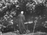 "Robert Frost During His Visit, Standing Near Tree Which Inspired His Poem ""Tree at My Window"" Premium Photographic Print"