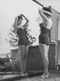 Italian Actress Gina Lollobrigida Admiring Reflection of Herself Wearing Bathing Suit in Mirror Photographic Print