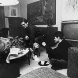 Allen Ginsberg and Gregory Corso During a Poetry Reading Party Premium Photographic Print