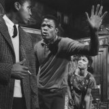 "Actor Sidney Poitier and Actress Ruby Dee, in a Scene from the Play ""A Raisin in the Sun"" Premium Photographic Print"