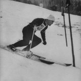 Austrian Skier Toni Sailer Competing During the Winter Olympics Premium Photographic Print