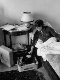 French Authoress Francoise Sagan, Laying in Bed Listening to Music Premium Photographic Print