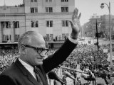 Sen. Barry Goldwater Waving to Crowd During Stop in Pres. Campaign Tour of Midwest Photographic Print by Alfred Eisenstaedt