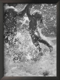 Father and Daughter Playing in the Surf at Jones Beach Framed Photographic Print by Alfred Eisenstaedt