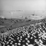 A View of Ships in the Water Near the Stadium During an Annapolis Naval Academy Football Game Premium Photographic Print by David Scherman