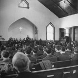 US Soldiers Attending Church Service Premium Photographic Print by George Strock