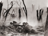 American Soldiers Firing a Gun at German Positions During Fierce WWI Battle in the Argonne Forest Premium Photographic Print