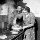 Signora Socci Cooking Spaghetti Dinner for American Sergeant Alexander before He Leaves Premium Photographic Print by John Phillips