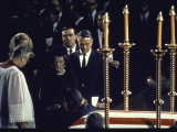 Matriarch Rose Kennedy with Joan Kennedy and Sargent Shriver at Senator Robert Kennedy's Funeral Premium Photographic Print by Bob Gomel