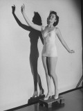 "Shirley O'Hara in Bathing Suit, Behind Screen, at Successful Audition for RKO Film""Shadow Girl"" Premium Photographic Print by John Florea"