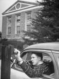 University of California at Los Angeles Paraplegic George Hohman, Signaling the Veterans Office Premium Photographic Print by John Florea