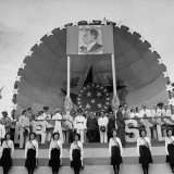 Brazilian Youth Members Standing on the Stage During the Reception for President Getulio Vargas Premium Photographic Print by Hart Preston