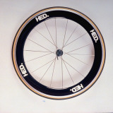 """Hed"" Bicycle Wheel, with Aerodynamic Rim and Superthin Blades Used by World-Class Bicycle Racers Premium Photographic Print by Ted Thai"
