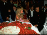 Illusionist David Copperfield with Supermodel Fiancee Claudia Schiffer at His 39th Birthday Party Premium Photographic Print by Gene Gale