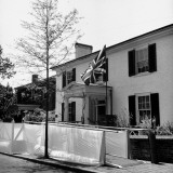 A Flag Waving in Front of Woodrow Wilson's Birthplace Premium Photographic Print by George Strock