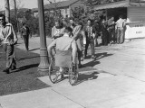 University of California at Los Angeles Paraplegic Student Rolling Down Ramp Towards Class Room Premium Photographic Print by John Florea